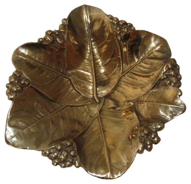 Brass Magnolia Leaf Bowl