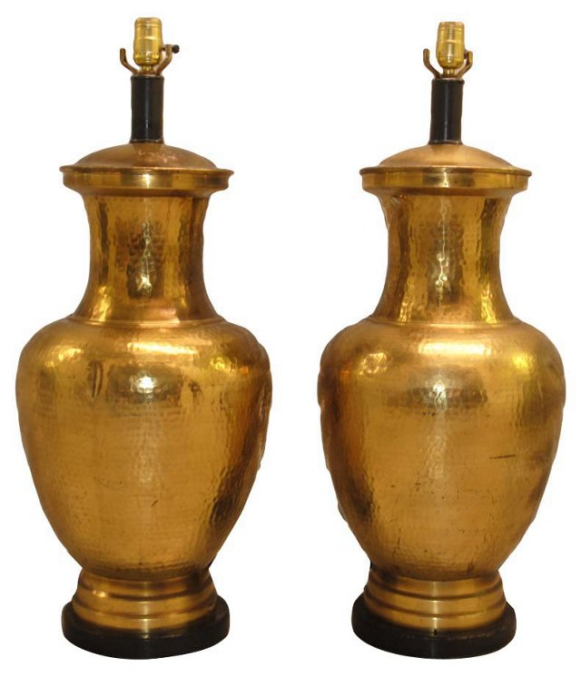 Hammered Brass Lamps, Pair