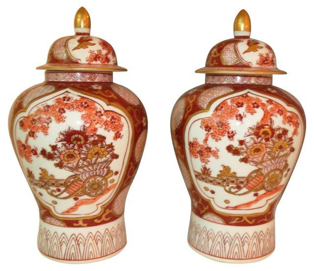 Red Gold Imari Ginger Jars, Pair