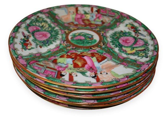 Rose Medallion Dinner Plates, S/5