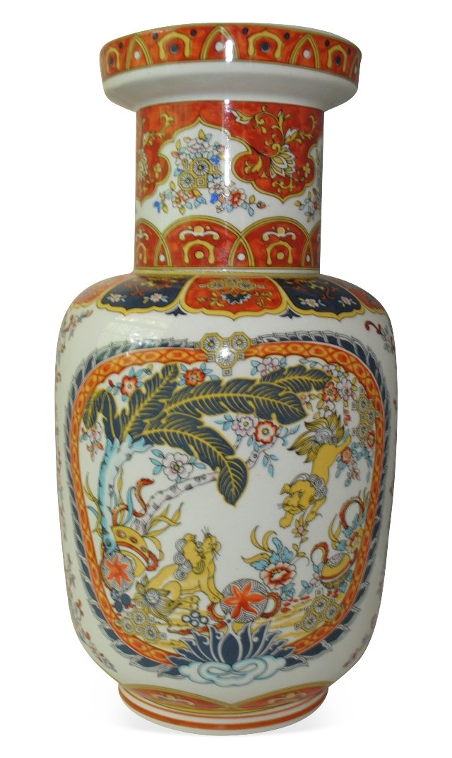 Painted Italian Vase w/ Griffins