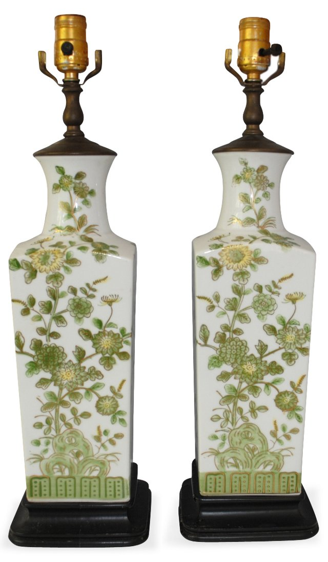 Green & White Chinoiserie Lamps, Pair