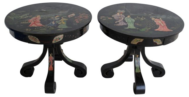 Hand-Painted Chinoiserie  Tables, Pair