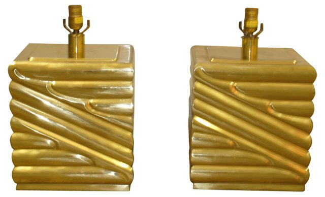 Art Deco Brass Lamps by Chapman, Pair