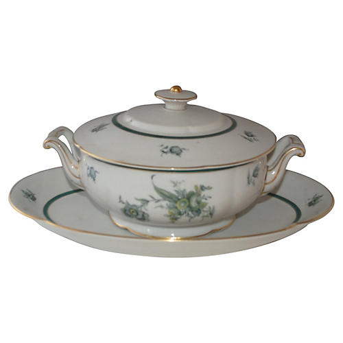 Green & White German Tureen w/ Tray