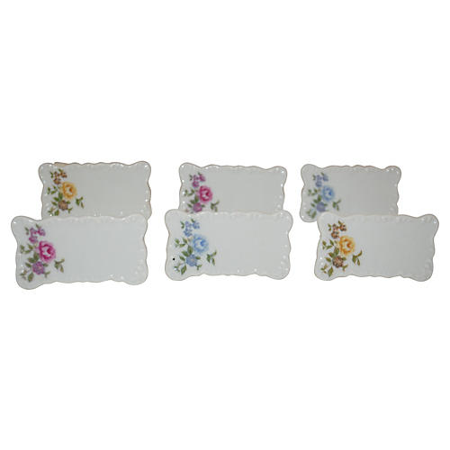 Porcelain Flower Place-Card Holders, S/6