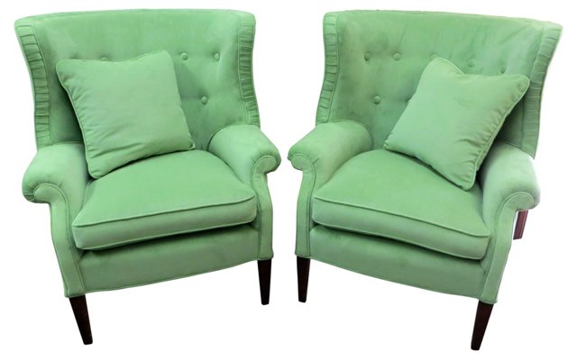 Upholstered   Wingbacks w/ Pillows, Pair