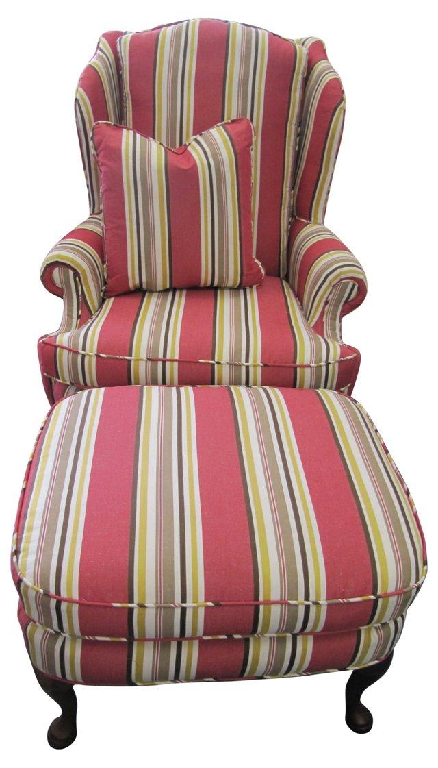 Striped Wingback w/ Pillow & Ottoman