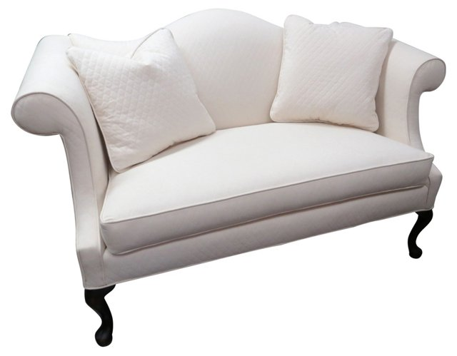 Camelback Settee w/ 2 Pillows