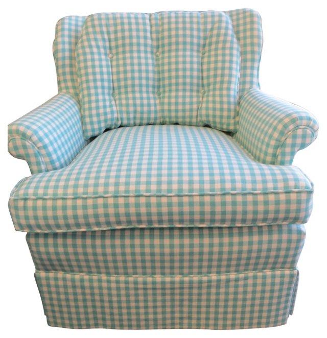 Teal & Cream Check Club Chair
