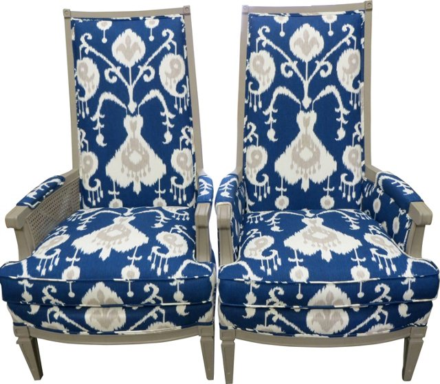 Ikat-Print  Chairs,  Pair