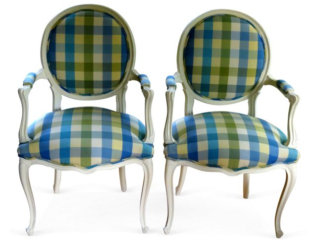 Plaid  French-Style Chairs,  Pair