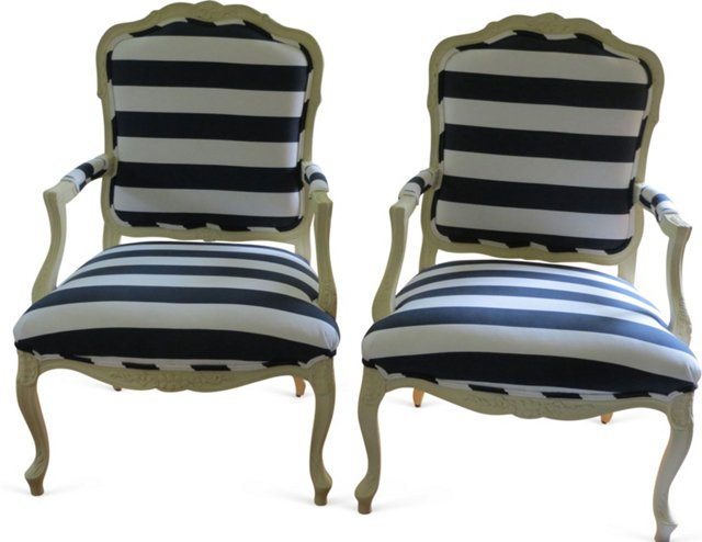 Striped French-Style   Chairs, Pair