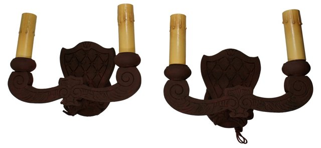 2-Arm Carved Wood Sconces, Pair