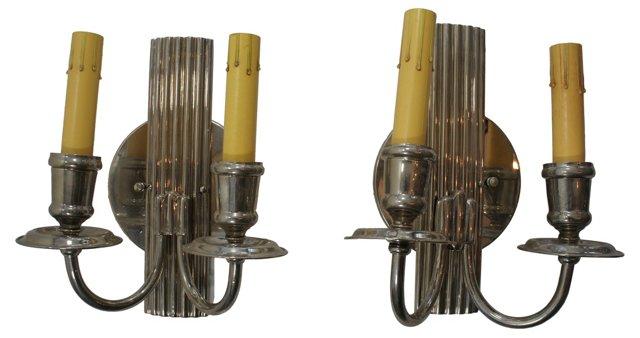 2-Arm Silver Sconces, Pair