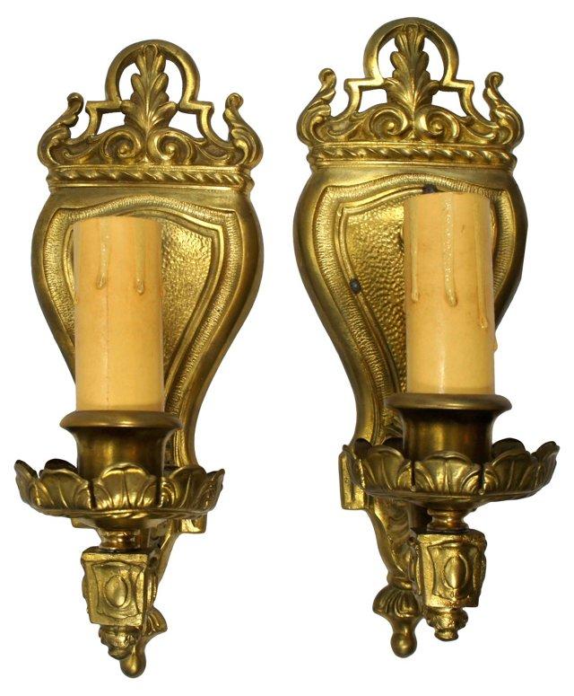 Brass Shield Sconces, Pair