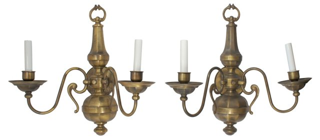 Traditional Brass Sconces, Pair