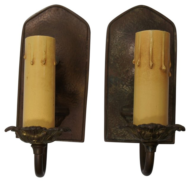 Textured-Plate Sconces, Pair