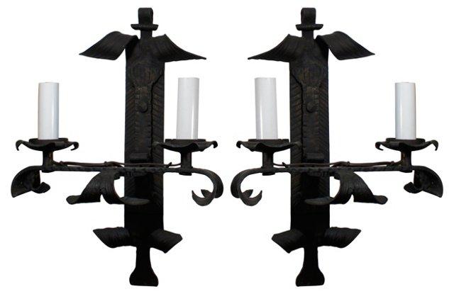 Black Iron Sconces, Pair
