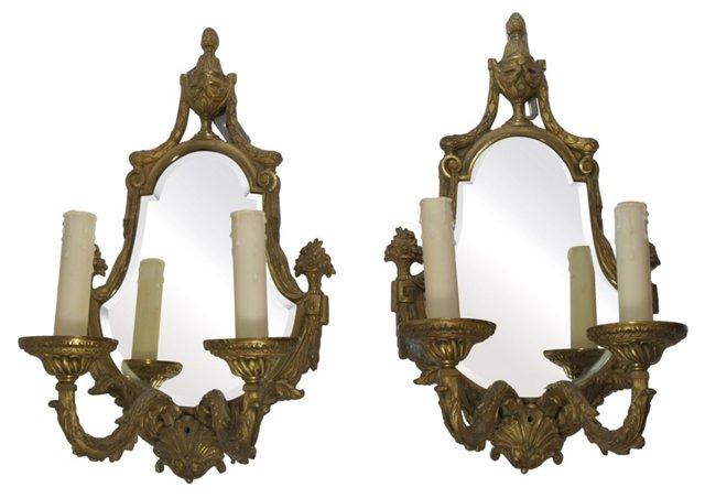 Mirrored Sconces, Pair