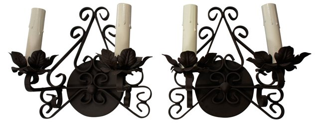 2-Arm Scrolled Iron Sconces, Pair