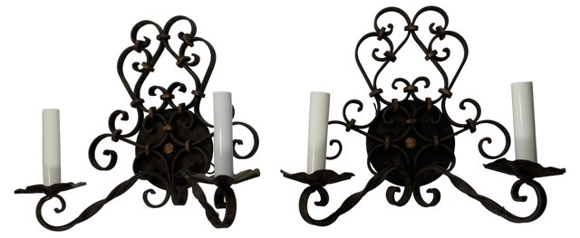 2-Arm Iron Sconces, Pair
