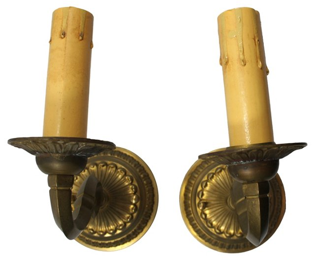 Round Brass Sconces, Pair