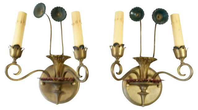 Brass Floral Wall Sconces, Pair