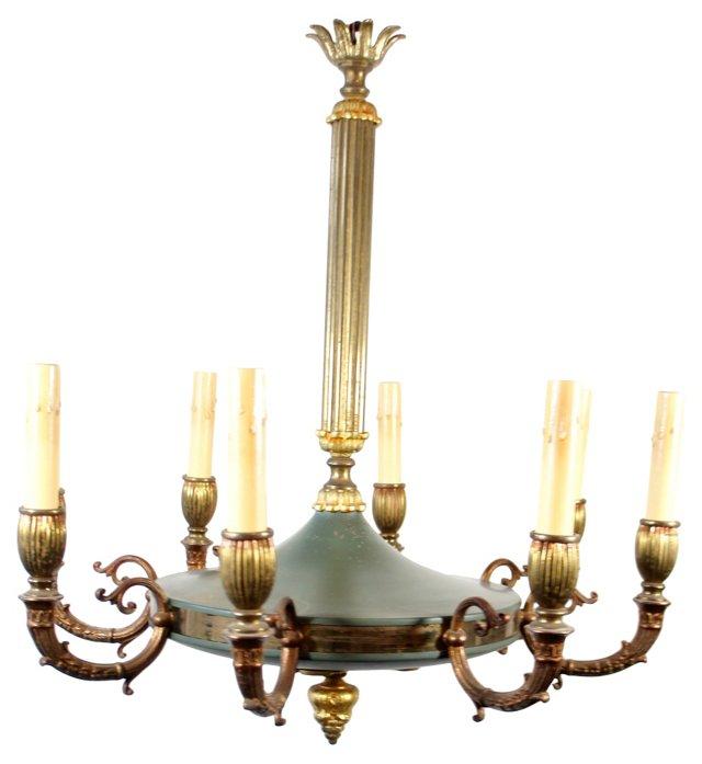 8-Light Green Chandelier