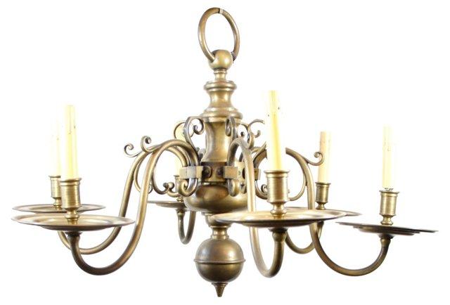 Antiqued Brass 6-Light Chandelier