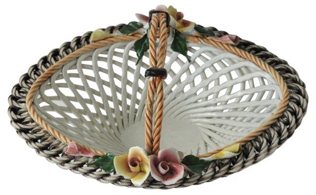 Italian Capodimonte Porcelain Basket