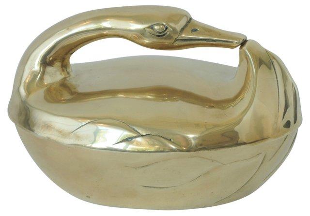 Brass Swan Bowl w/ Lid