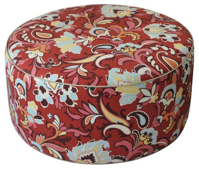 Round Paisley-Print Ottoman