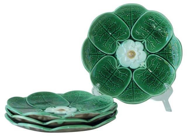 Antique Majolica Lily Pad Plates, S/4