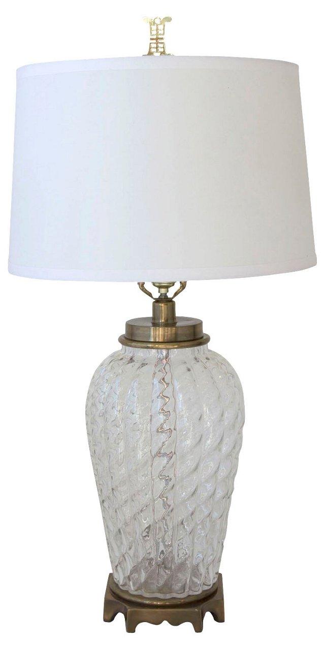 Paul Hanson Ribbed Glass & Brass Lamp