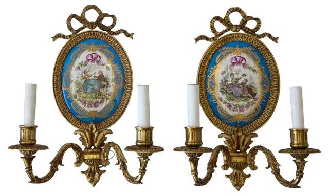 French Bronze Sevres Sconces, Pair