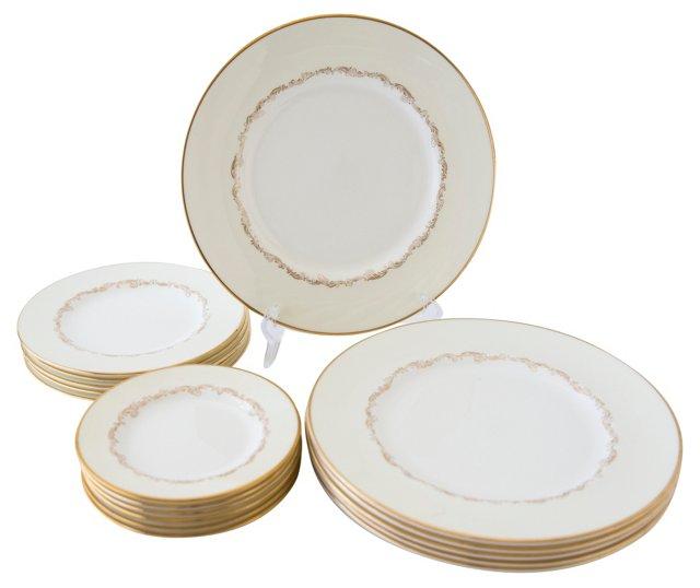 Minton Felicity Pattern Plates, 17 Pcs
