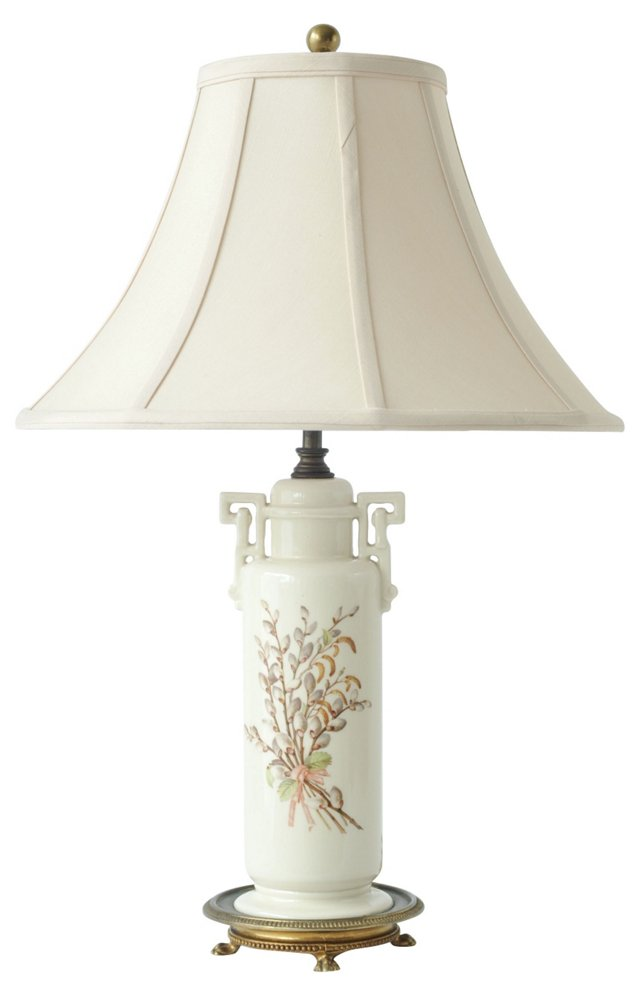French Porcelain Gray Willow Lamp