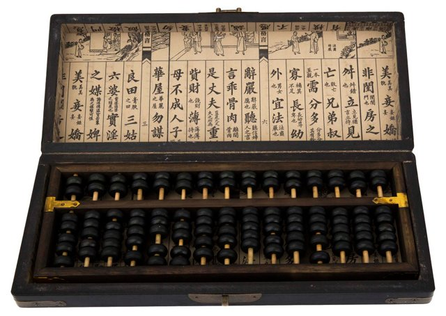 Chinese Lacquer & Brass Abacus Box