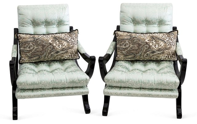 Lacquered Chairs w/ French Damask, Pair