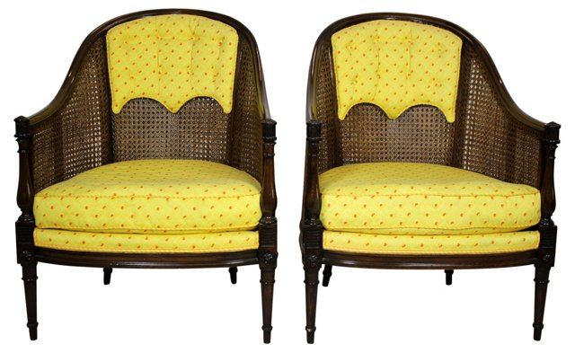 Yellow Caned Tub Chairs, Pair