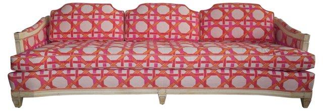 Upholstered Sofa w/ Geometric Motif