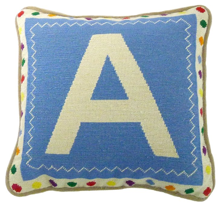 Needlepoint Letter A Pillow