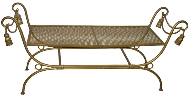 Italian Long Gold Rope-Style Bench