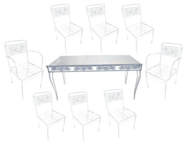 Iron Shell Dining Table & 8 Chairs