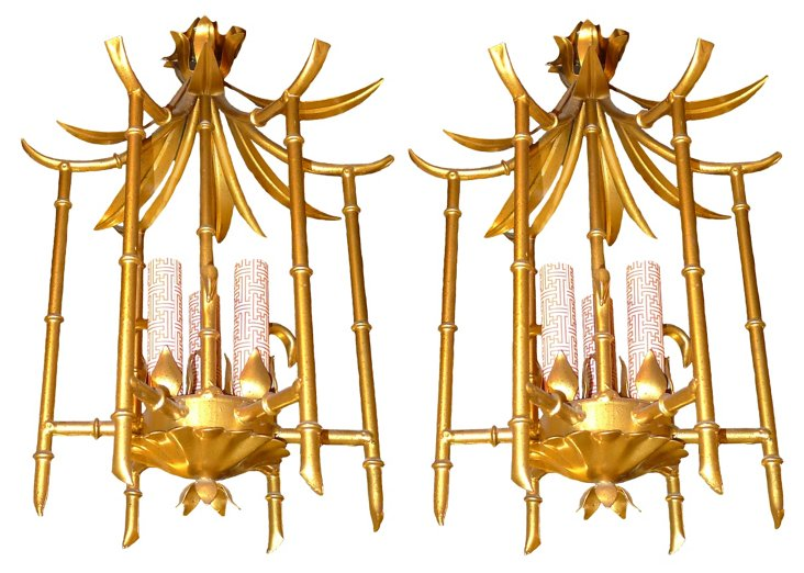 Bamboo-Style Gold Chandeliers, Pair