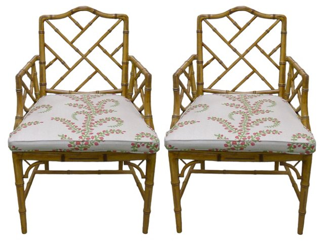 Faux-Bamboo   Armchairs, Pair