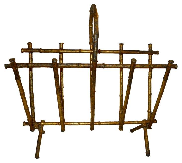 Italian Gilt Bamboo-Style Magazine Stand