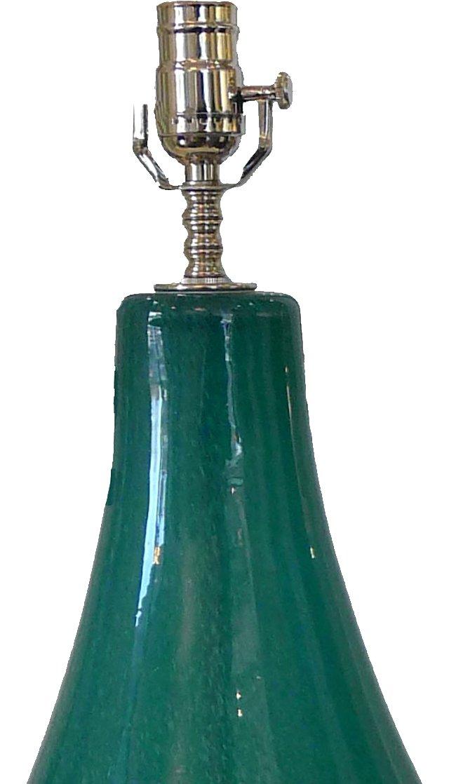 Midcentury Teal Blown Glass Lamp