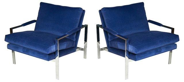Milo Baughman Chrome Chairs, Pair